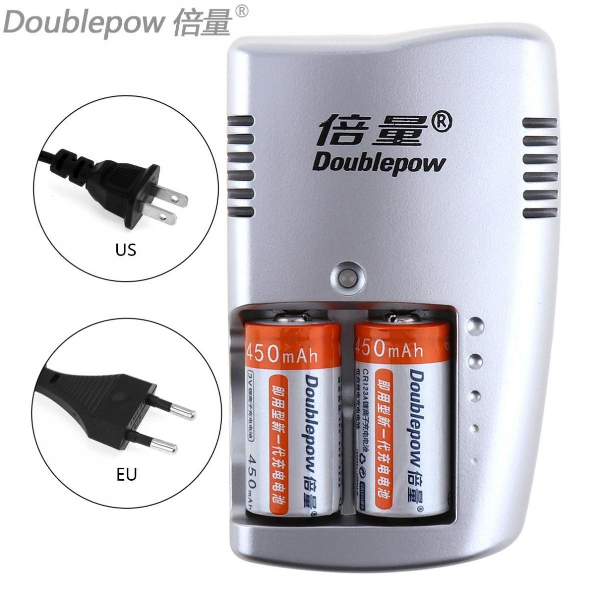 Doublepow 2 pièces 450 mAh 3 V CR123A LiFePo4 Rechargeable Batterie + 2 slots Chargeur Intelligent pour 3 V CR123A batteries