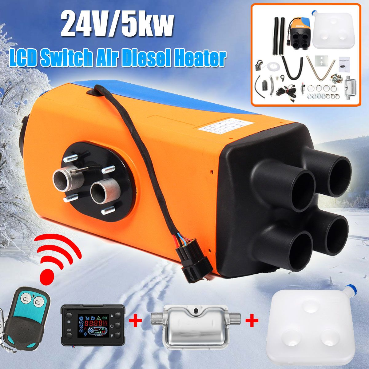 24V Car Heater 5KW Car Parking Air Diesels Fuel Heater 4-Holes 5000W for RV Boats Motorhome Trucks Trailer Car Accessories