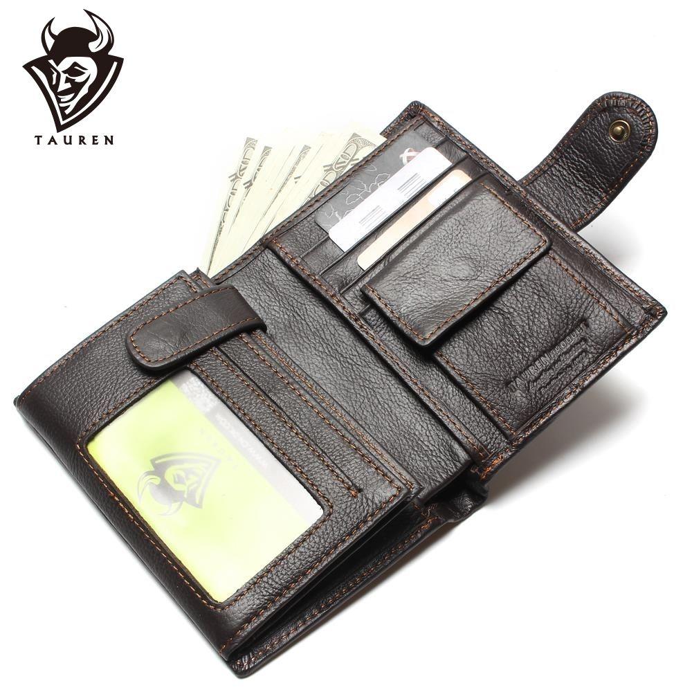 Rétro pratique huile epilation cuir voyage portefeuille peau de vache véritable épaississement Vintage hommes sac à main passeport portefeuilles