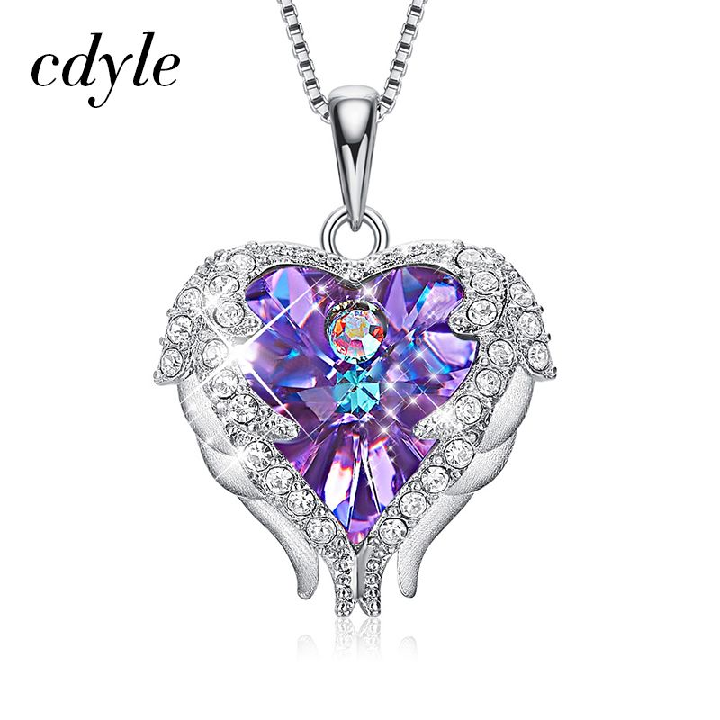 Cdyle Real 925 Sterling Silver Angel Necklace Crystals from Swarovski Valentine's Day Present For Women Heart Wings Pendant