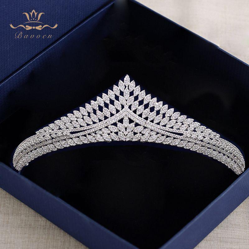 Top Quality Sparkling Crystal Wedding Hair Accessories Brides European Zircon Hairbands Queen Silver Tiaras Crowns