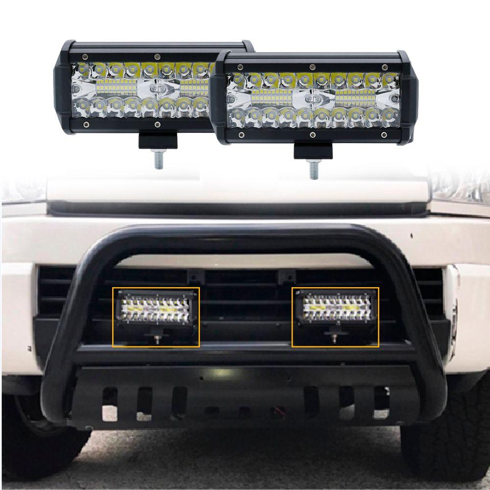 Faisceau d'inondation de tache de barres lumineuses à LED combiné de 7 pouces 120 W pour le travail conduisant le camion de tracteur de voiture de bateau tout-terrain 4x4 SUV ATV 12 V 24 V