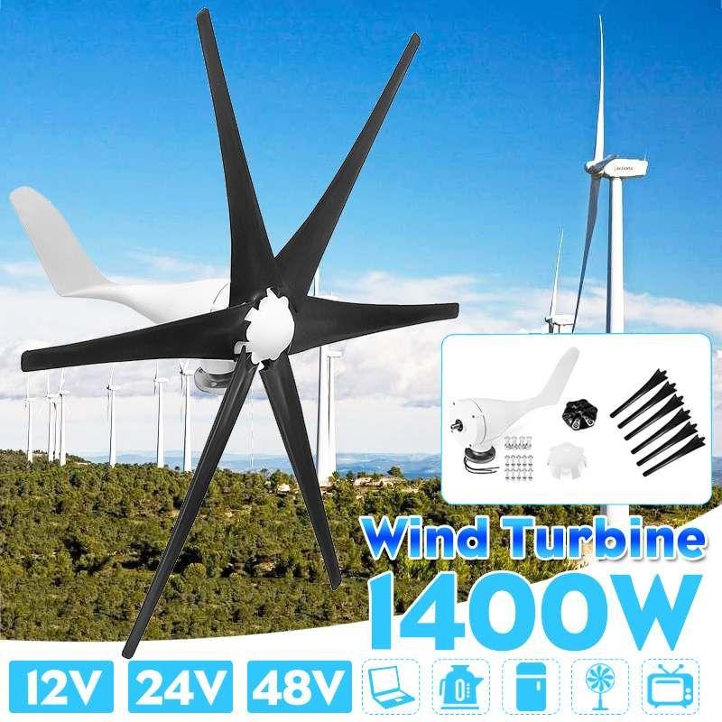 1400 W 12 V 24 V 48 Volt Wind Turbinen Generator Sechs Wind Klingen Power Windmühle Energie Turbinen Ladung für hause Oder Camping
