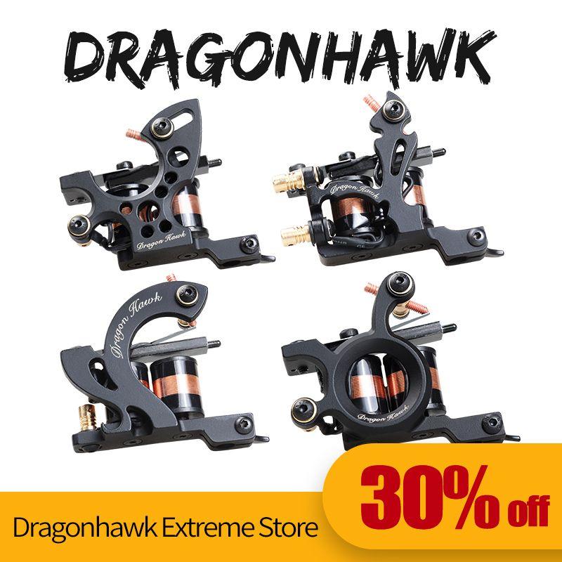 4 pièces De Tatouage Professionnel Machines Dragonhawk Fine Doublure D'ombrage De Tatouage Pistolet Coloration Doublure 10 Enveloppes Machines De Tatouage