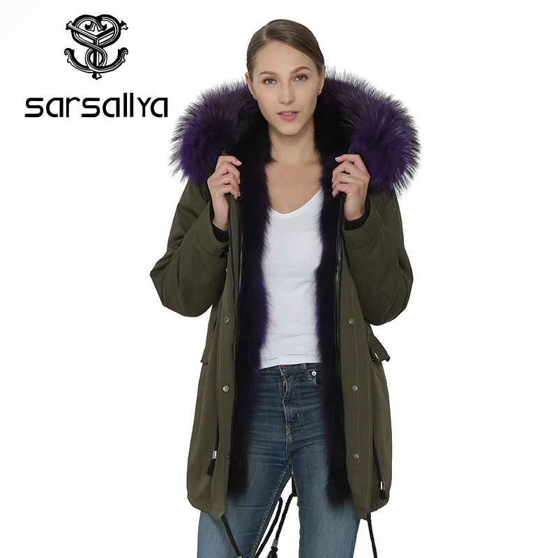 SARSALLYA Natürliche Pelz Mantel Jacke Winter Warme Frauen Kleidung Echt Marderhund Pelz Kragen Parka Mantel Jacke Frauen Parka Mantel