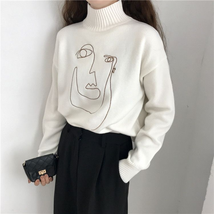 Geometric Face Winter Turtleneck Women Pullover Sweater Long Sleeve Loose Female Knitting Jumper Sweater Slim Ladies Sweater