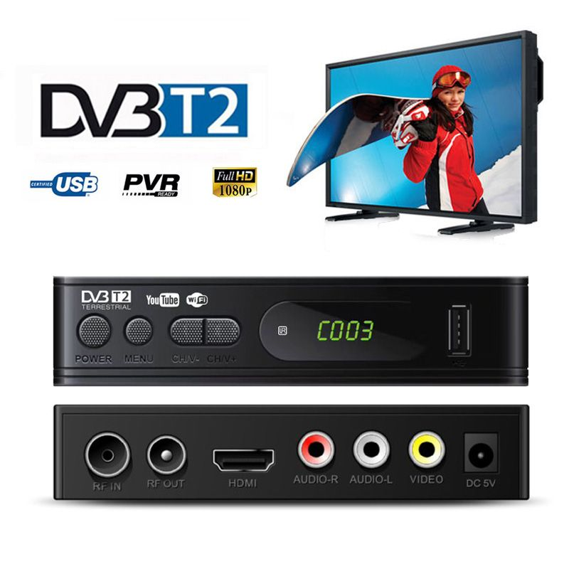 TV Tuner DVB T2 USB2.0 TV Box HDMI HD 1080P DVB-T2 Tuner Receiver Satellite Decoder Built-in Russian Manual For Monitor Adapter