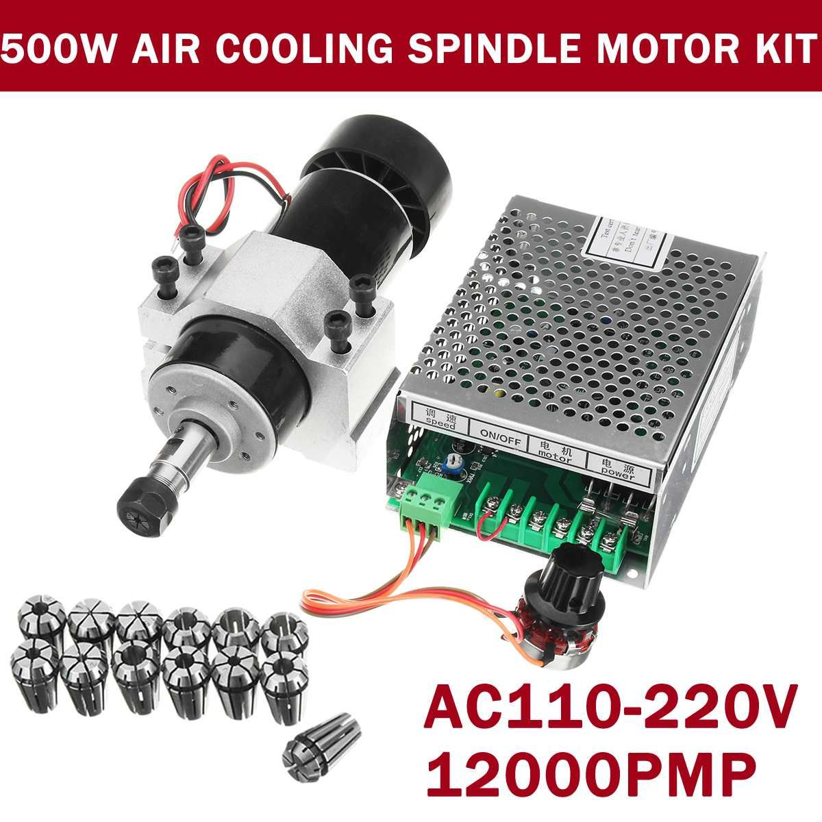 500W CNC Air Cooling Spindle Motor Engraving Machine Router+52mm Clamps+Speed Governor ER11 Collet Chuck For Engraving Machine