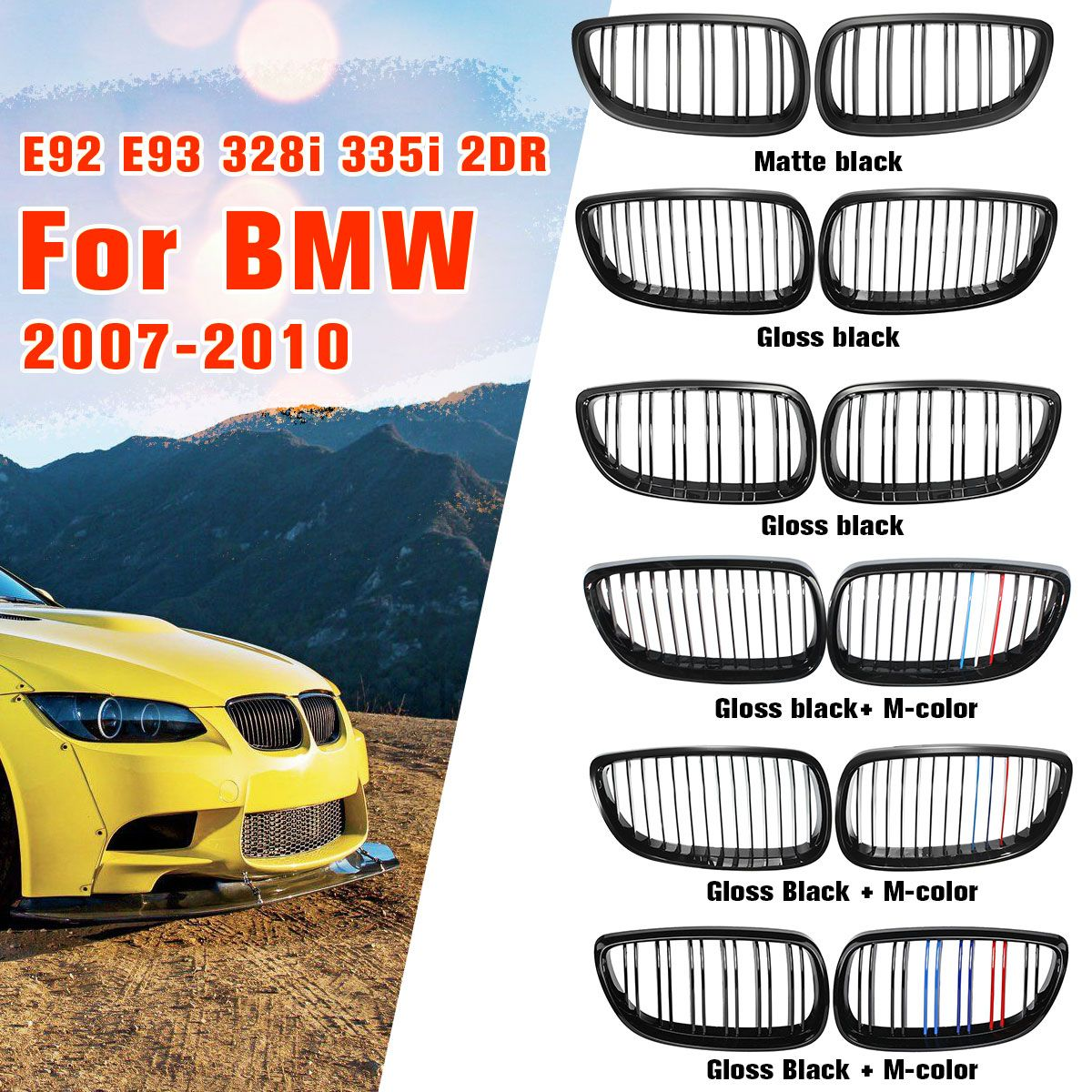 Gloss Matte Black M-color Dual Line Front Grille Kidney Grill For BMW E92 E93 M3 328i 335i 2Door 2007 2008 2009 2010 Car Styling