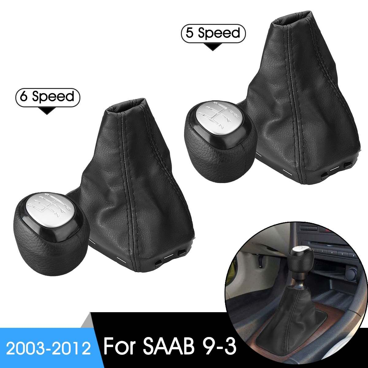 5/6 Speed Car Gear Shift Knob Shifter Lever Leather Gaiter Boot Cover For SAAB 9-3 2003-2012 Manual Transmission