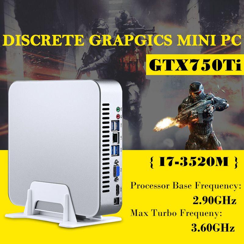 MSECORE Spiel Dual Core i7 3520 M mit GTX750TI 4G Gewidmet Karte Mini PC Windows 10 linux Desktop Computer Nettop barebone HTPC