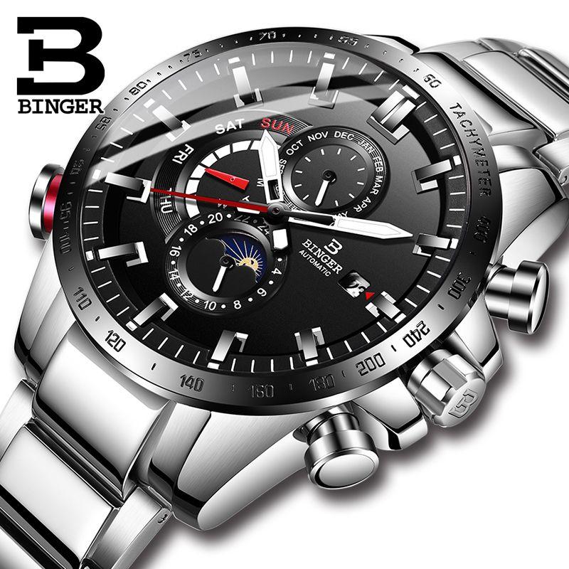 Switzerland BINGER Watch Men Automatic Mechanical Luxury Brand Men Watches Sapphire Men Watch Waterproof relogio masculino B8-1