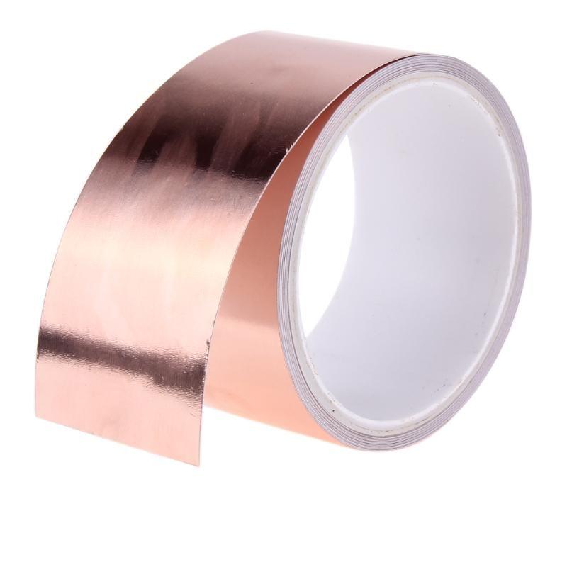 5,5 meter Doppel Leitfähigen Kupfer Folie Band Streifen Klebstoff EMI Abschirmung Wärme Widerstehen Band Wasserdicht Band 5,5 mt x 50mm