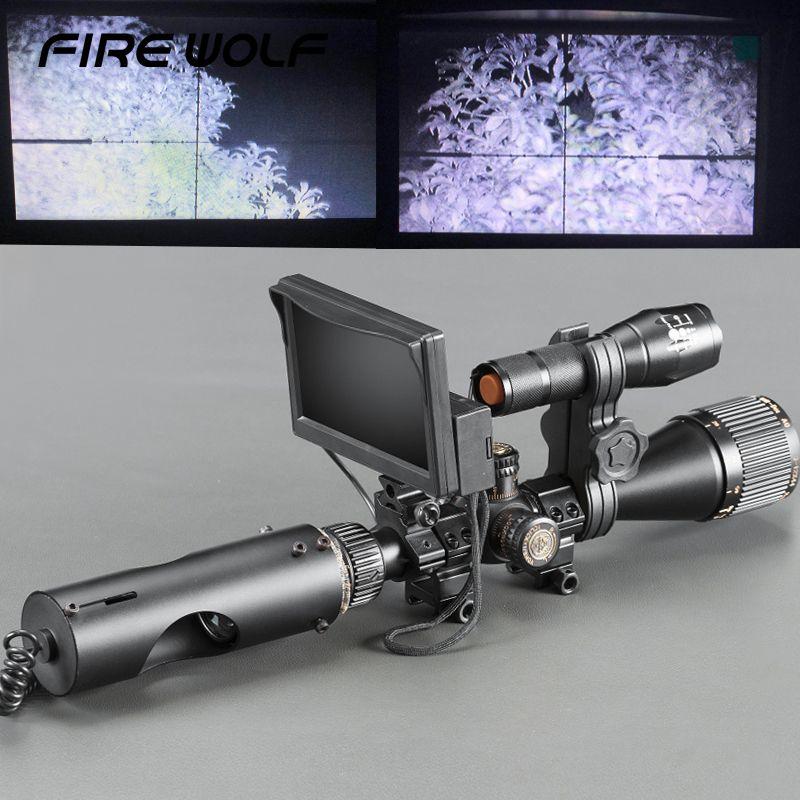 Taktische Digitale Infrarot Nachtsicht Zielfernrohr Mit LCD und 3 W IR Taschenlampe Fernrohre Jagd Scopes