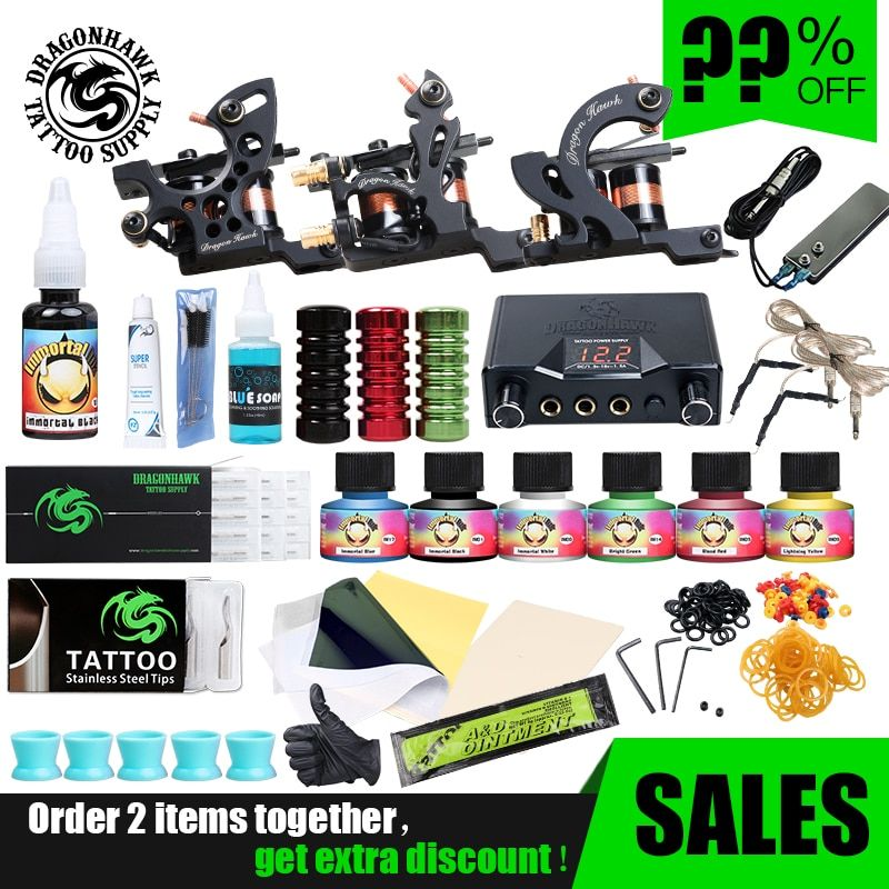 Professionelle Tattoo Kits Top Künstler Komplette Set 3 Tattoo Maschine Gun Futter Und Schattierung Tattoo Tinten Power Nadeln Tattoo Supply