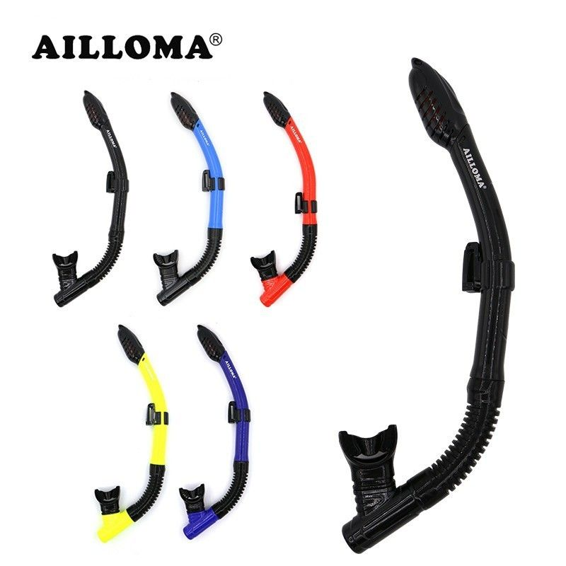 AILLOMA Dry Snorkel With Adjustable Holder <font><b>Diving</b></font> Snorkeling Tube Silicone Breathing Swimming Underwater Snorkel For Adult