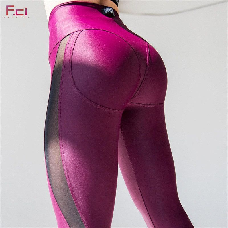 FRECICI 2018 Women Sexy Booty Leggings Push Up Pants Side Transparent Leggings See Through Workout Fitness Push Up Pants Slim