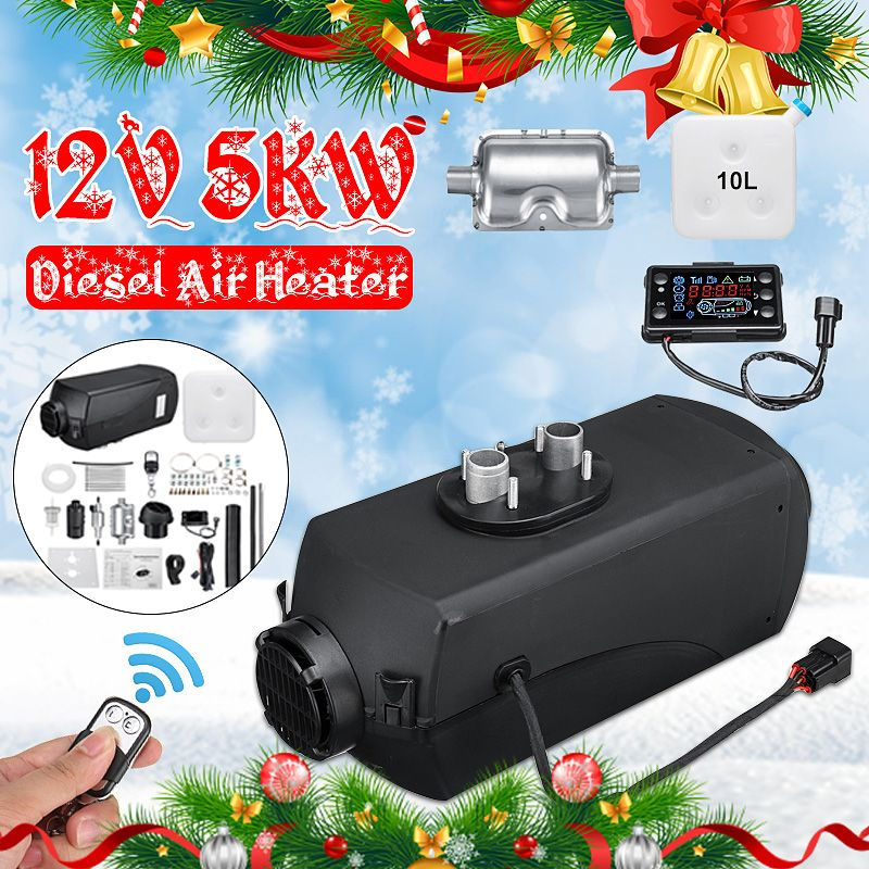 Car Heater 12V 5000W LCD Monitor Air diesels Fuel Heater Single Hole With Remote And Silencer 10L Tank 5KW For Trucks Boats Etc
