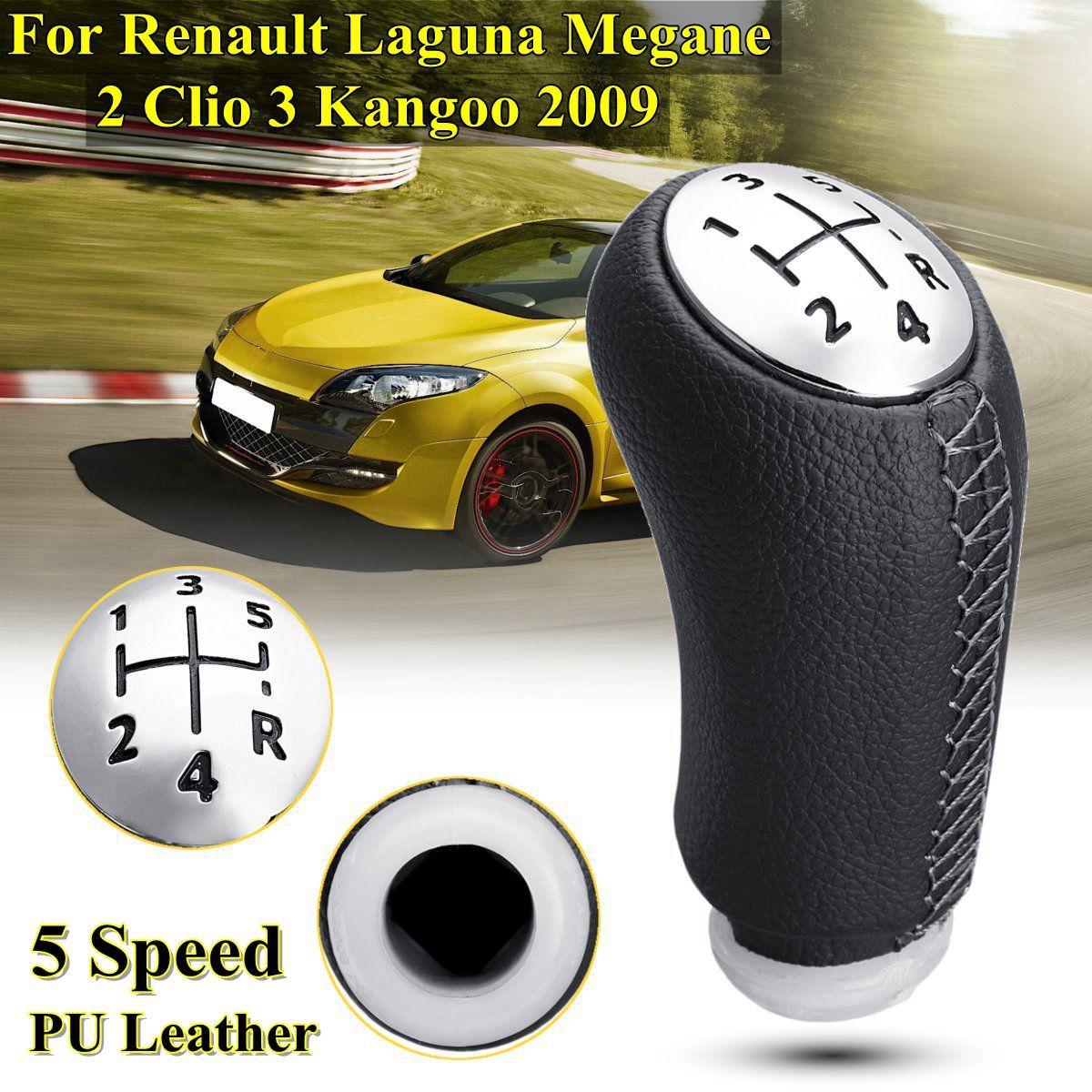 1 pièces cuir brillant mat couleur 5 vitesses levier de vitesse pommeau de levier de vitesse pour RENAULT Laguna Megane 2 Clio 3 2003-2009 Kangoo 2009