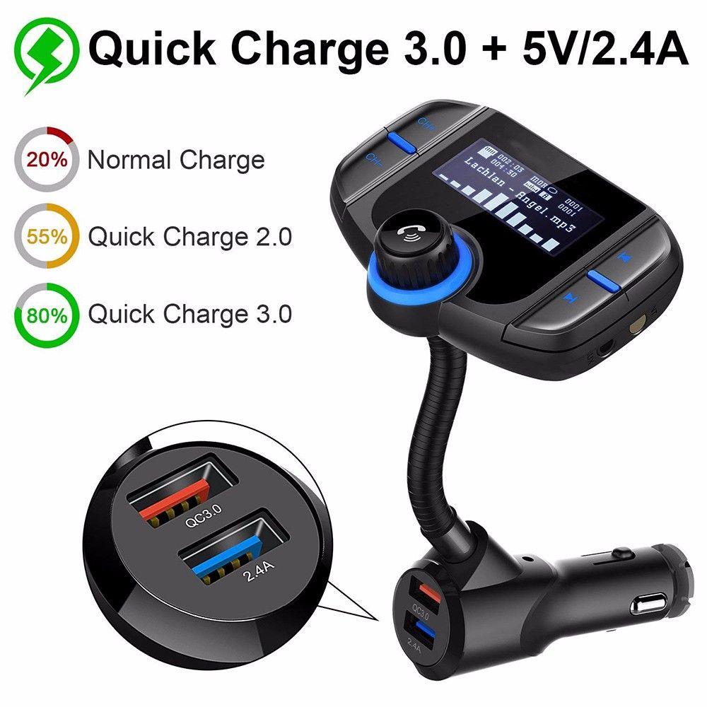 BT70 Bluetooth FM Transmitter Car Kit Wireless Hands-free MP3 Player QC3.0 Dual USB Ports Car Charger AUX LCD Display