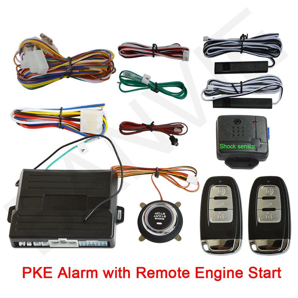 Système d'alarme de voiture universel PKE avec bouton poussoir de démarrage/arrêt du moteur et démarrage du moteur
