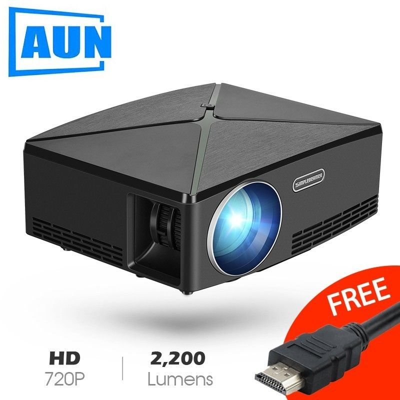 AUN Proyector C80 UP, 1280x720 Resolution, 2200 Lumens With Android WIFI HD Beamer for Home Cinema, Optional C80 MINI Projector