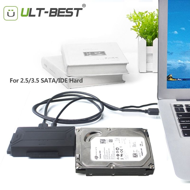 ULT-Best SATA USB 3.0 IDE Adapter Cable Hard Disk Driver SATA to USB Converter for 2.5/3.5/5.25 Optical Drive HDD SSD With Power