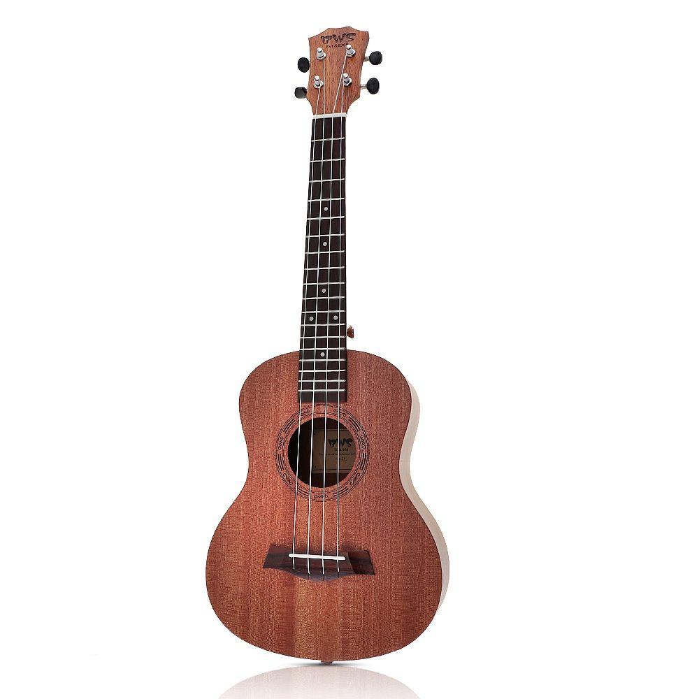 26 pouces acajou bois 18 Fret ténor ukulélé acoustique coupe guitare acajou bois Ukelele Hawaii 4 cordes Guitarra
