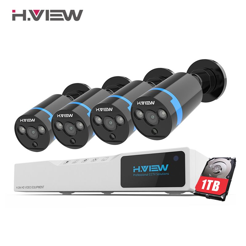 H. view Sicherheit Kamera System 8ch CCTV-System 4x1080 P CCTV Kamera Surveillance System Kit Camaras Seguridad Hause 1TB HDD