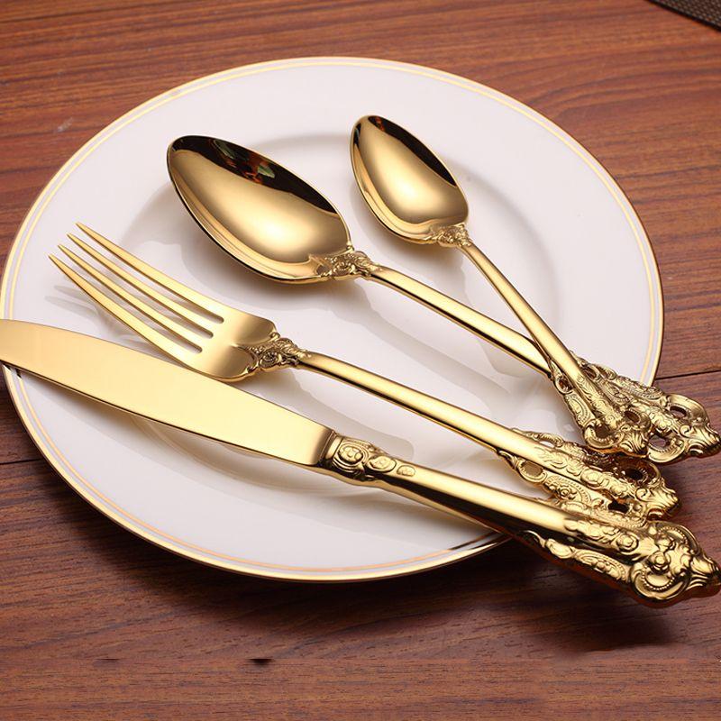 KuBac 24 pièces ensemble de vaisselle dorée 304 couteau à dîner en acier inoxydable et fourchette et cuillère à café INS ensemble de couverts livraison directe