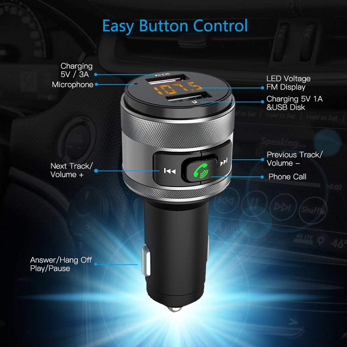 Charge rapide 3.0 chargeur de voiture pour xiaomi Bluetooth FM transmetteur MP3 lecteur de musique sans fil FM adaptateur Radio double chargeur USB