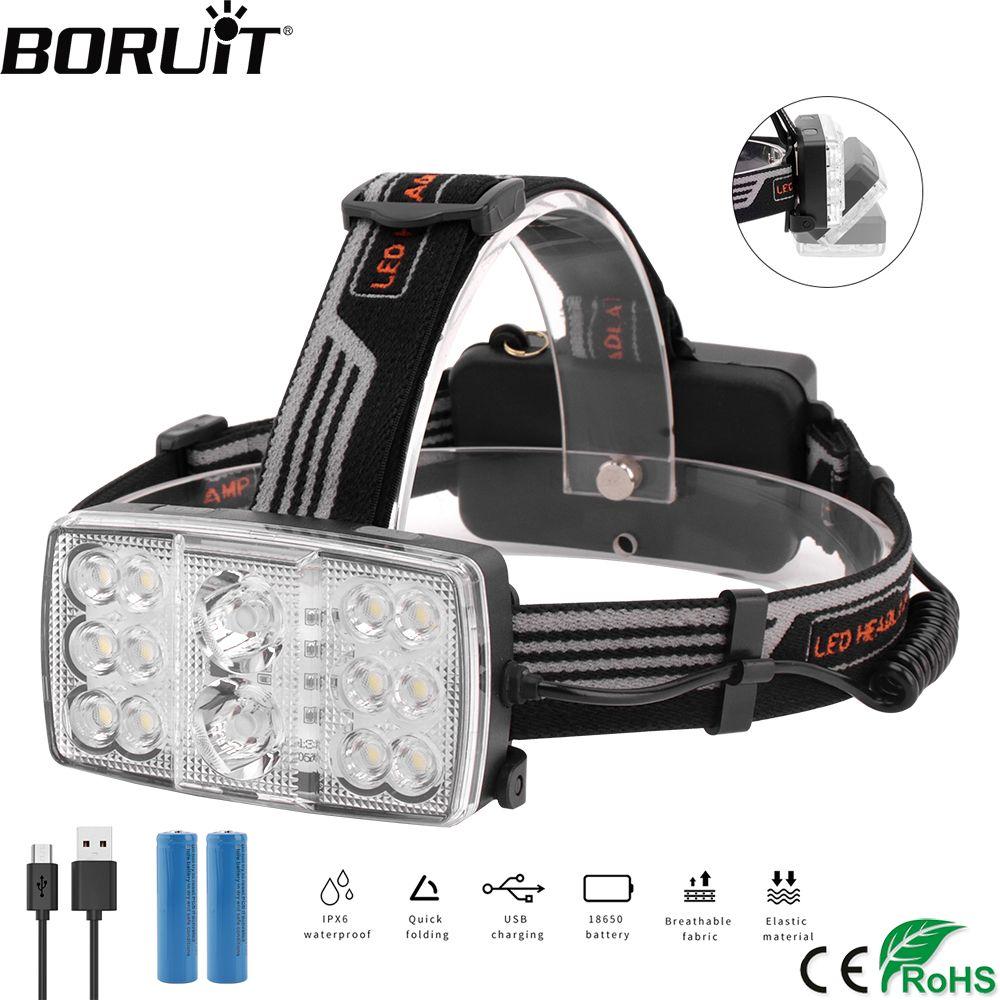 BORUiT B23 XPE COB Rote LED Scheinwerfer USB Ladegerät 11-Modus Scheinwerfer 15000 Lumen Kopf Taschenlampe Jagd Angeln Taschenlampe 18650 batterie