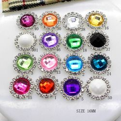 ZMASEY цена продажи 10 шт/партия 16 мм страз кнопки Алмазная пуговица из акрила приглашение Гейл волос бант Цветок аксессуары