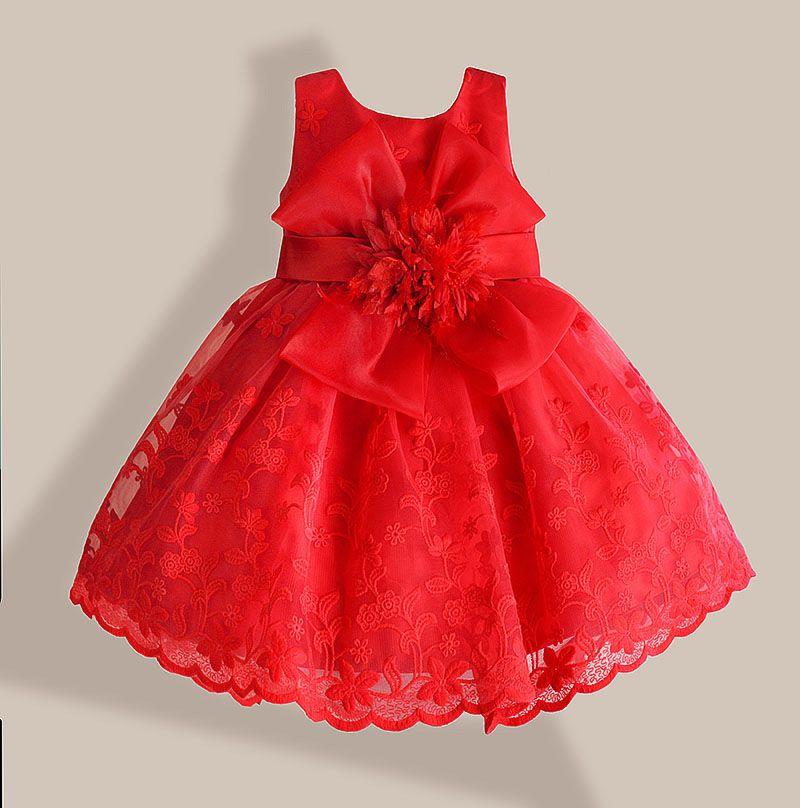 De noël Bébé Fille Robe Dentelle Rouge Broderie De Fleurs Enfants Robes pour les filles partie robe robe infantil 1-6 ans