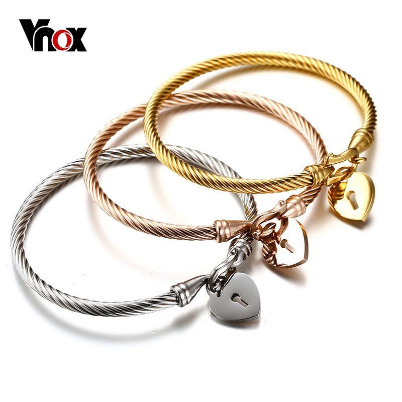 Vnox mode amour coeur femmes Bracelet en acier inoxydable Triple trois câble fil torsadé manchette Bracelet Bracelets ensemble Femme bijoux