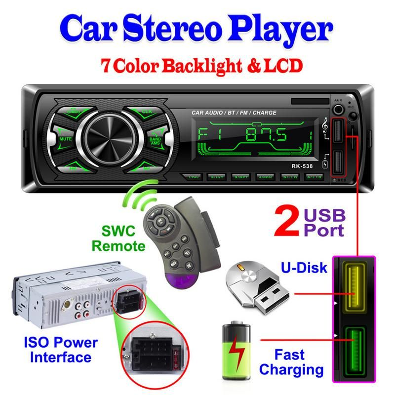 Chargeur de RK-538 deux autoradio USB FM 12V panneau avant fixe voiture Audio MP3 WMA lecteur Bluetooth SD AUX SWC télécommande 7388 IC 538