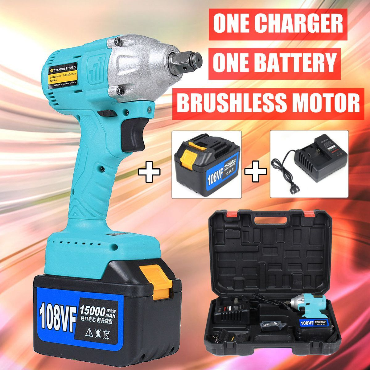 108V Cordless Impact Wrench 1/2 Rechargeable 15000mAh Lithium Battery 320Nm Brushless Electric Wrench