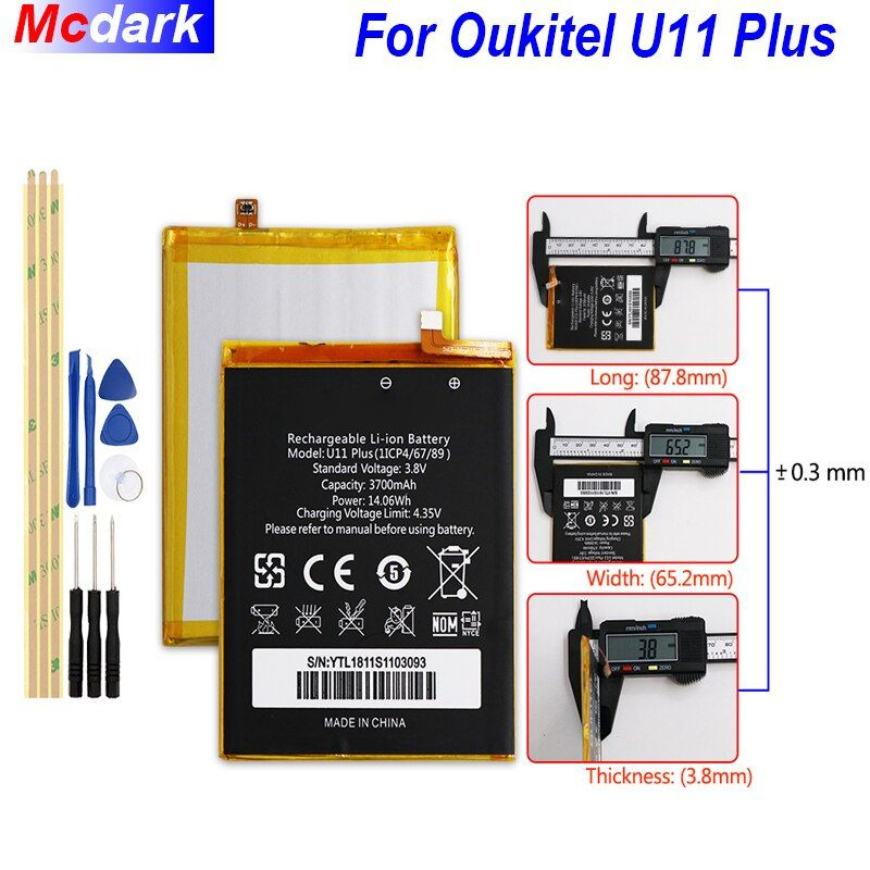 Mcdark 3700 mah Backup Batterie Für Oukitel U11 Plus Batterie Bateria Akkumulator AKKU AKKU PIL Handy + Werkzeuge