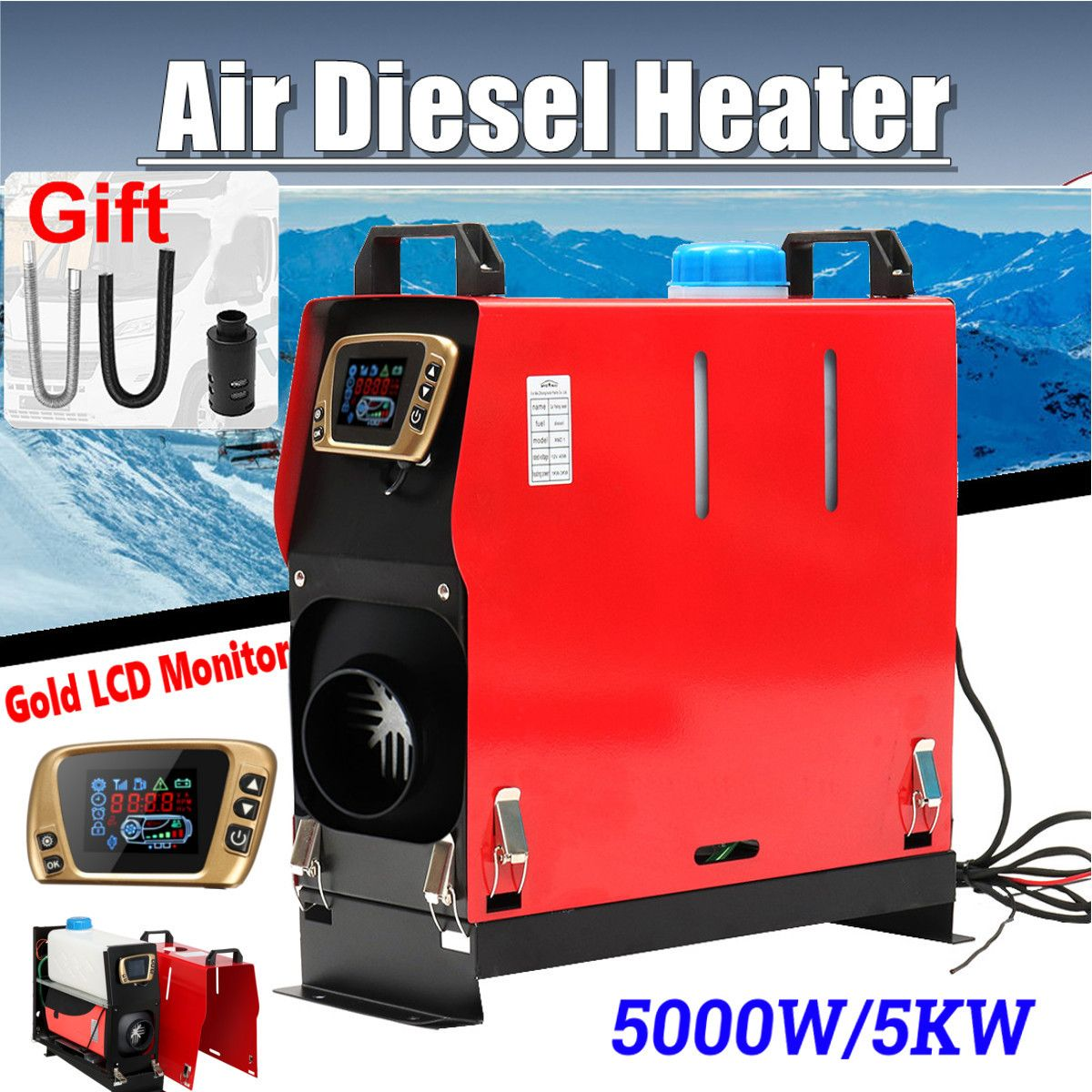 All In One 5000W Air diesels Heater 5KW 12V One Hole Car Heater For Trucks Motor-Homes Boats Bus +LCD key Switch +Remote control