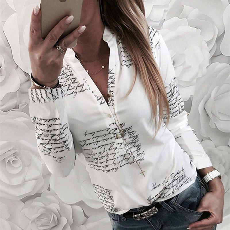 Femmes plaine vogue lettres blanc chemises blouse femme casual manches longues col v bouton de mode blouses shirt tops femme