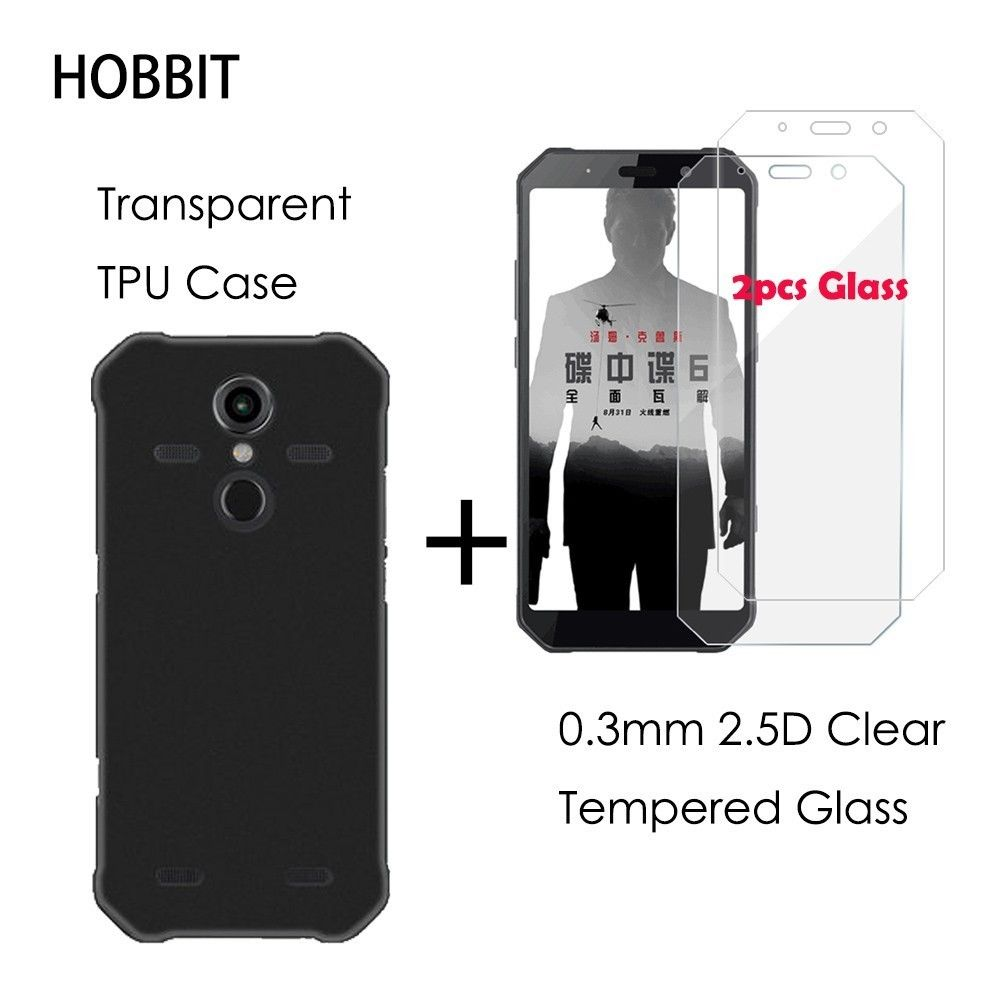 0.3MM 2.5D Clear Tempered Glass Screen Protector For AGM A9 A9 Pro Black TPU Back Cover Case for agm h1 Protection LCD Film