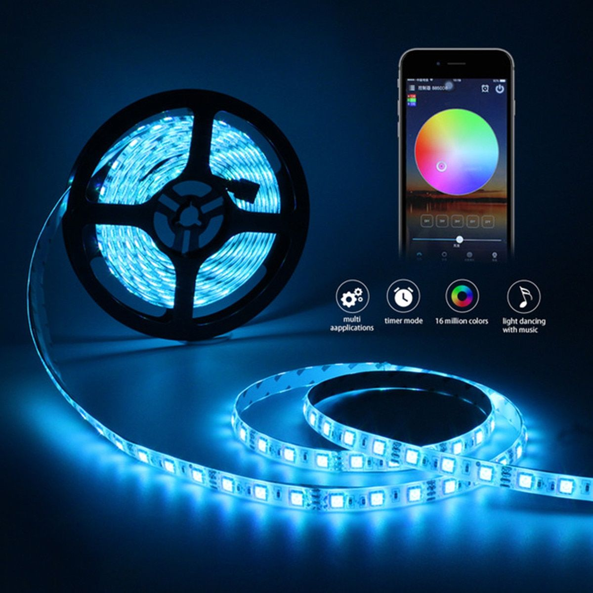 for Alexa Google 100000 Hours Smart Wifi 5050 RGB 300 LED Strip Lights 10M Waterproof Completely Smooth Ultra-bright Flexibe