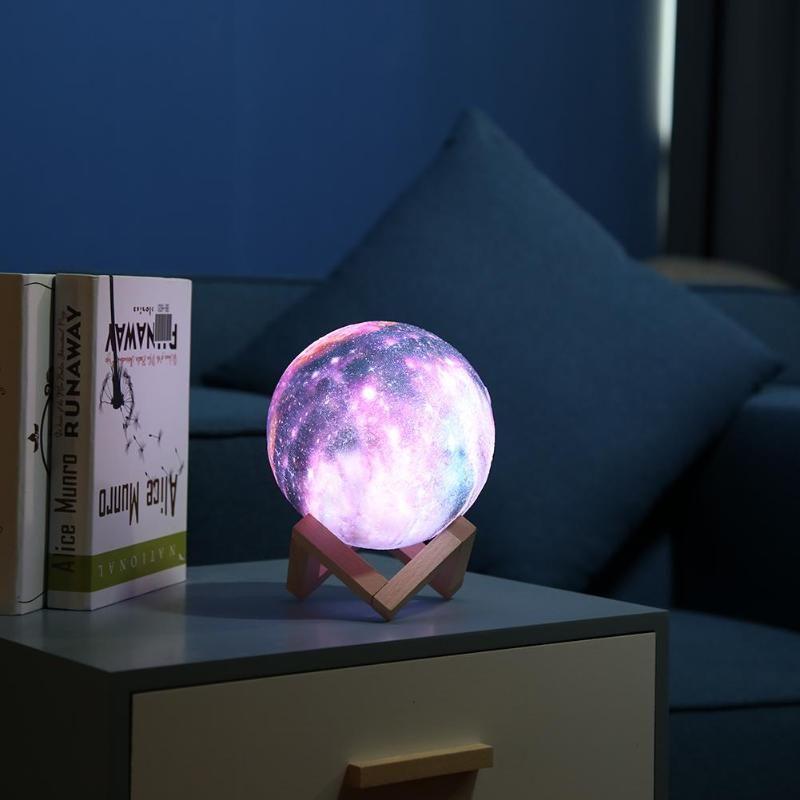 16 couleurs 3D Imprimer Étoiles Lune Lampe Coloré Changement Tactile Décor À La Maison Cadeau Créatif Usb LED Nuit Lumière Lampe De Galaxie dropshipping