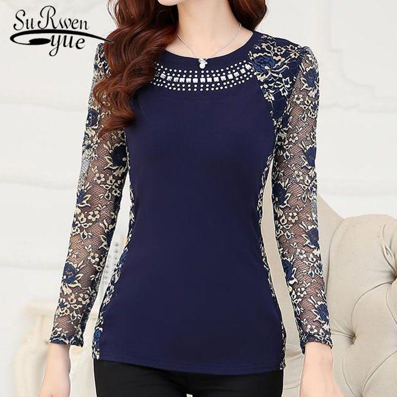 Nouveau 2018 mode haute qualité femmes grande taille dentelle blouse chemises dames à manches longues slim dentelle patchwork haut pour femme 160F 20