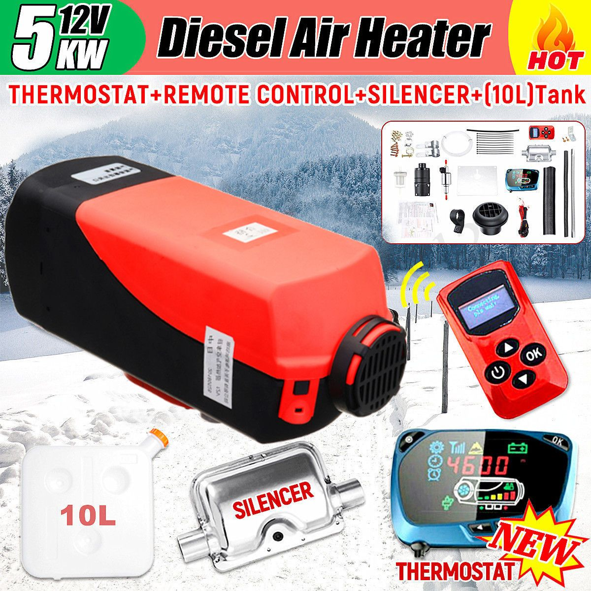 HCalory 12V 5KW Dieses Air Parking Heater LCD Monitor with Remote Switch and Silencer Car Trucks Boats