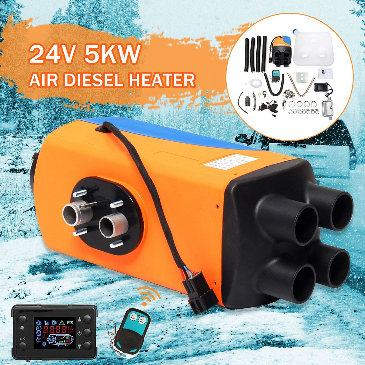 Audew Car Parking Air Diesels Heater 24V 5KW 4-Holes 5000W Car Heater + LCD Switch + Silencer for Motorhome Boats Car Accessorie