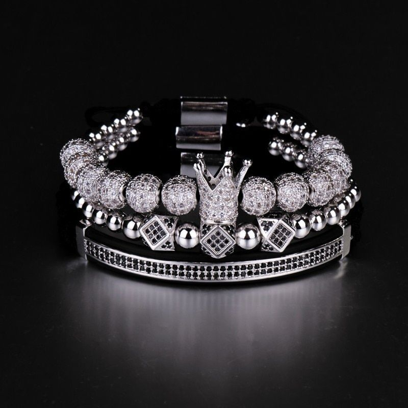3pcs/Set Hip Hop Gold Crown Bracelets 8MM Cubic Micro Pave CZ Ball Charm Braided Braiding Man Luxury Jewelry Pulseira Bileklik