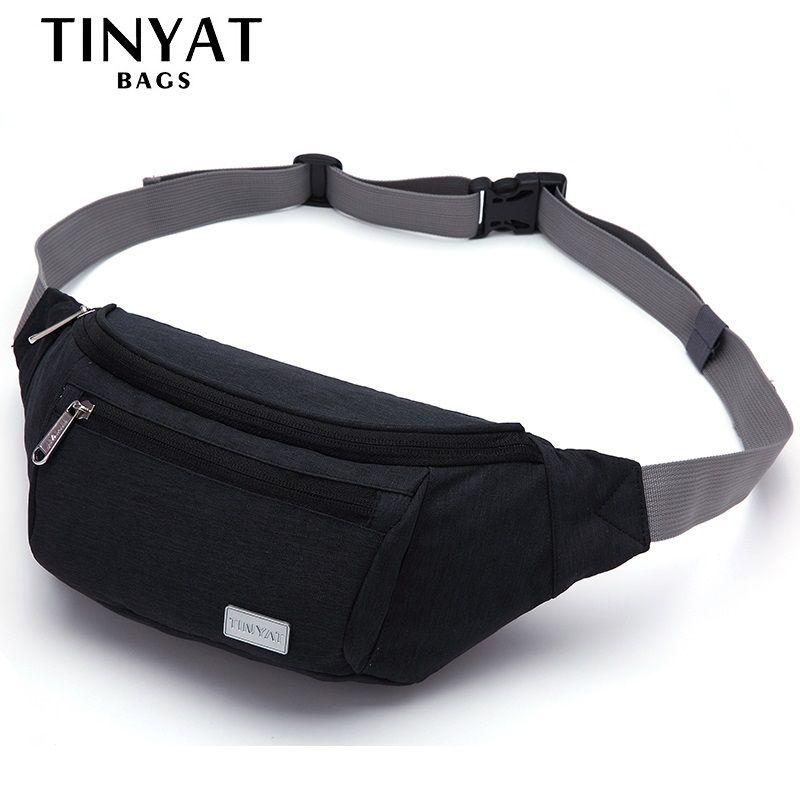 TINYAT Men Waist bag pack Functional Run Money Phone Belt Bag <font><b>Pouch</b></font> Smooth Canvas Fanny pack Adjust Shoulder Bag Belt Travel