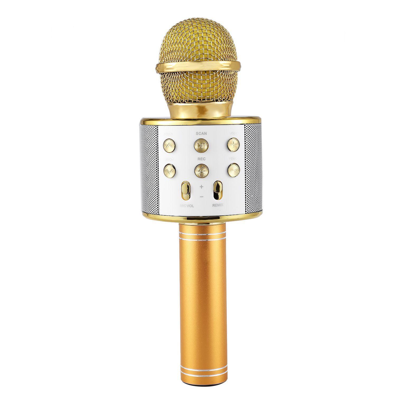 Microphone professionnel Bluetooth sans fil Microphone karaoké haut-parleur lecteur de musique portable micro enregistreur chantant KTV Microphone