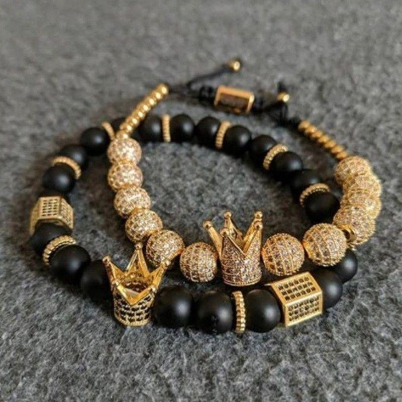 2pcs/Set Gold Crown Bracelets 8MM Cubic Micro Pave CZ Ball Braiding Man Black Matte Stone Luxury Jewelry Pulseira Bileklik